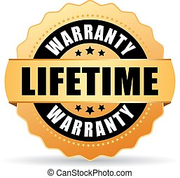 Lifetime warranty gold icon isolated on white background
