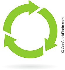 Green cycle icon isolated on white background