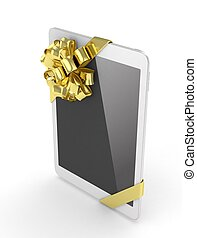 White tablet with bow. 3D rendering. - White tablet with...