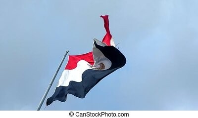 Egypt flag with fabric structure against a cloudy sky