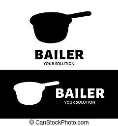 Bailer vector logo. Brand logo in the shape of a bailer
