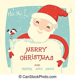 Santa Claus holds christmas card with text. Vector merry...