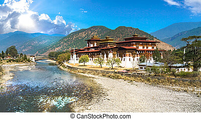 The Punakha Dzong Monastery in Bhutan Asia one of the...