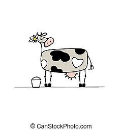 Cute cow with bucket of milk, sketch for your design. Vector...