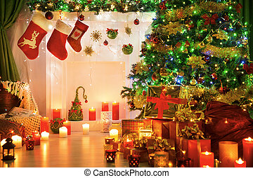 Christmas Socks Fire Place, Xmas Tree Lights Fireplace in...