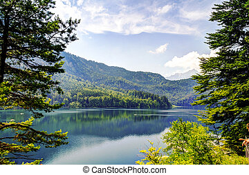 Landscape of Alpsee, Bayern Germany - Surface view of Alpsee...