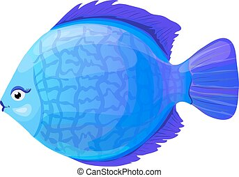 blue round coral fish in cartoon style, vector illustration