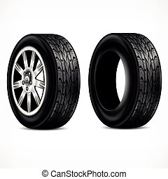 Rubber. Wheels on white - New rubber tire and metalic wheel...