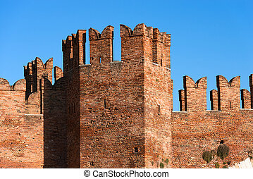 Castelvecchio Bridge - Verona Italy - Detail of the ancient...