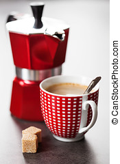 Cup of coffee - Red and white cup of coffee and percolator