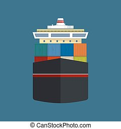 Front View of Cargo Container Ship - Front View of the...