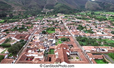 Villa de Leyva Aerial View - Aerial view of the church and...
