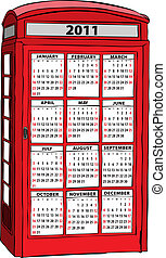 Calendar of 2011 in UK red phone booth - Vector calendar of...
