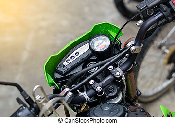 speedometer of the motorcycle - Closeup to the speedometer...