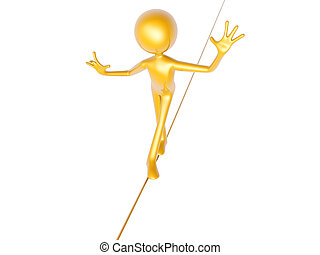 golden guy wire walking isolated on white background 3d...