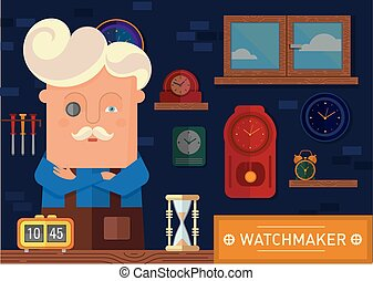 watchmaker in the workplace - Creative illustration of a...