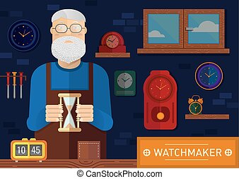 Creative illustration of a watchmaker in the workplace with...