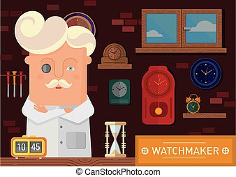 watchmaker in the workplace with a clock on the wall -...