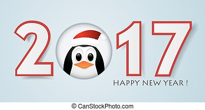Happy New year background with penguin. Vector illustration...
