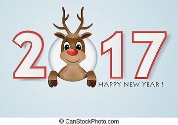 Happy New Year background. Reindeer with red nose. Vector...