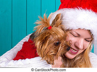 girl in santa cap with yorkie dog in red sweater - Beautiful...