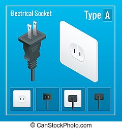 Isometric Switches and sockets set. Type A. AC power sockets realistic illustration. Power outlet and socket isolated. Plug socket.
