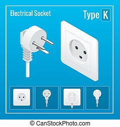 Isometric Switches and sockets set. Type K. AC power sockets realistic illustration. Power outlet and socket isolated. Plug socket.