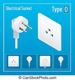 Isometric Switches and sockets set. Type O. AC power sockets realistic illustration. Power outlet and socket isolated. Plug socket.