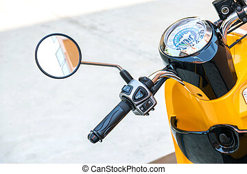 rear view mirror of the motorcycle. - Closeup to...