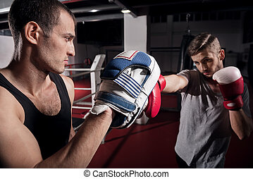 Side view of young boxer training hook on pad - Concentrated...