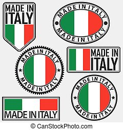 Made in Italy label set with Italian flag, vector illustration