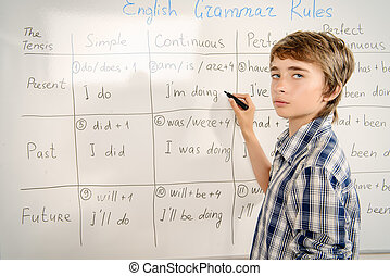 grammar lessons - Student boy answers the grammar lesson....