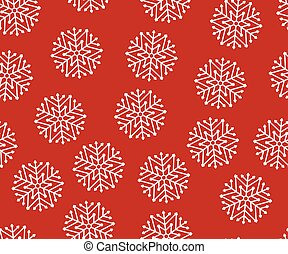 Seamless white christmas snowflakes on a red background
