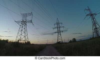 Country road with power line - Panorama on dirt road with...
