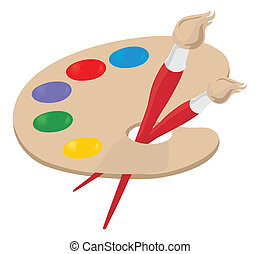 Palette of the artist and brush. A vector illustration