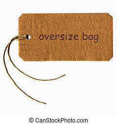 Tag label - oversize bag tag with string isolated over white