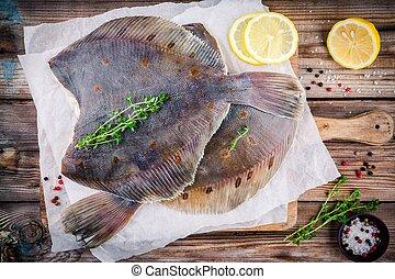 fish, Surowy, Drewniany, płastuga, flądra, stół