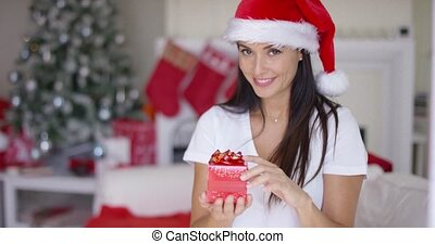 Gorgeous young woman offering an Xmas gift - Gorgeous young...