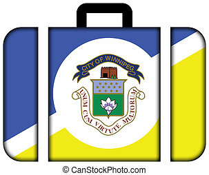 Flag of Winnipeg, Manitoba, Canada. Suitcase icon, travel...