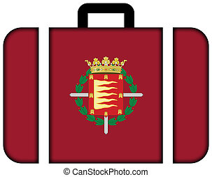 Flag of Valladolid, Spain. Suitcase icon, travel and...