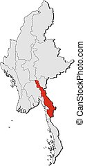 Map - Myanmar, Kayin - Map of Myanmar with the provinces,...