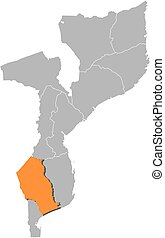 Map - Mozambique, Gaza - Map of Mozambique with the...