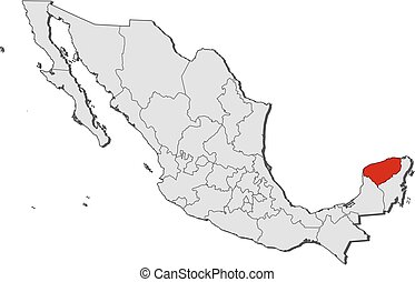 Map - Mexico, Yucatan - Map of Mexico with the provinces,...