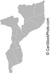 Map - Mozambique, Maputo - Map of Mozambique with the...