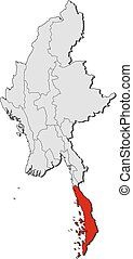 Map - Myanmar, Tanintharyi - Map of Myanmar with the...