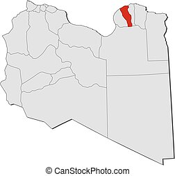 Map - Libya, Marj - Map of Libya with the provinces, Marj is...