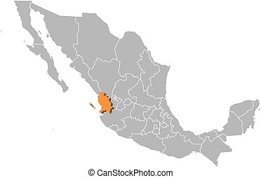 Map - Mexico, Nayarit - Map of Mexico with the provinces,...