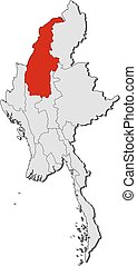 Map - Myanmar, Sagaing - Map of Myanmar with the provinces,...