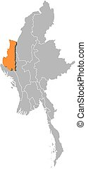 Map - Myanmar, Chin - Map of Myanmar with the provinces,...