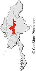 Map - Myanmar, Mandalay - Map of Myanmar with the provinces,...